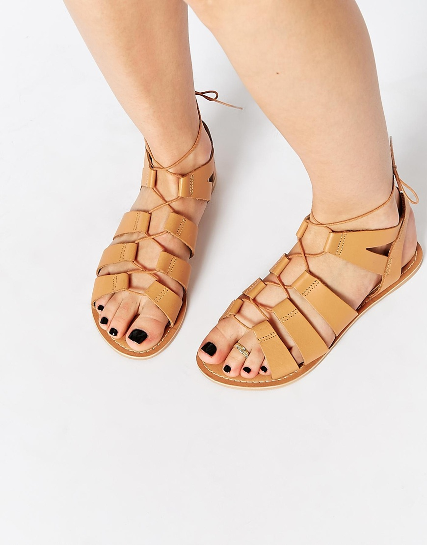 72a82b1cdc0 Lyst - ASOS Foss Leather Lace Up Sandals in Brown