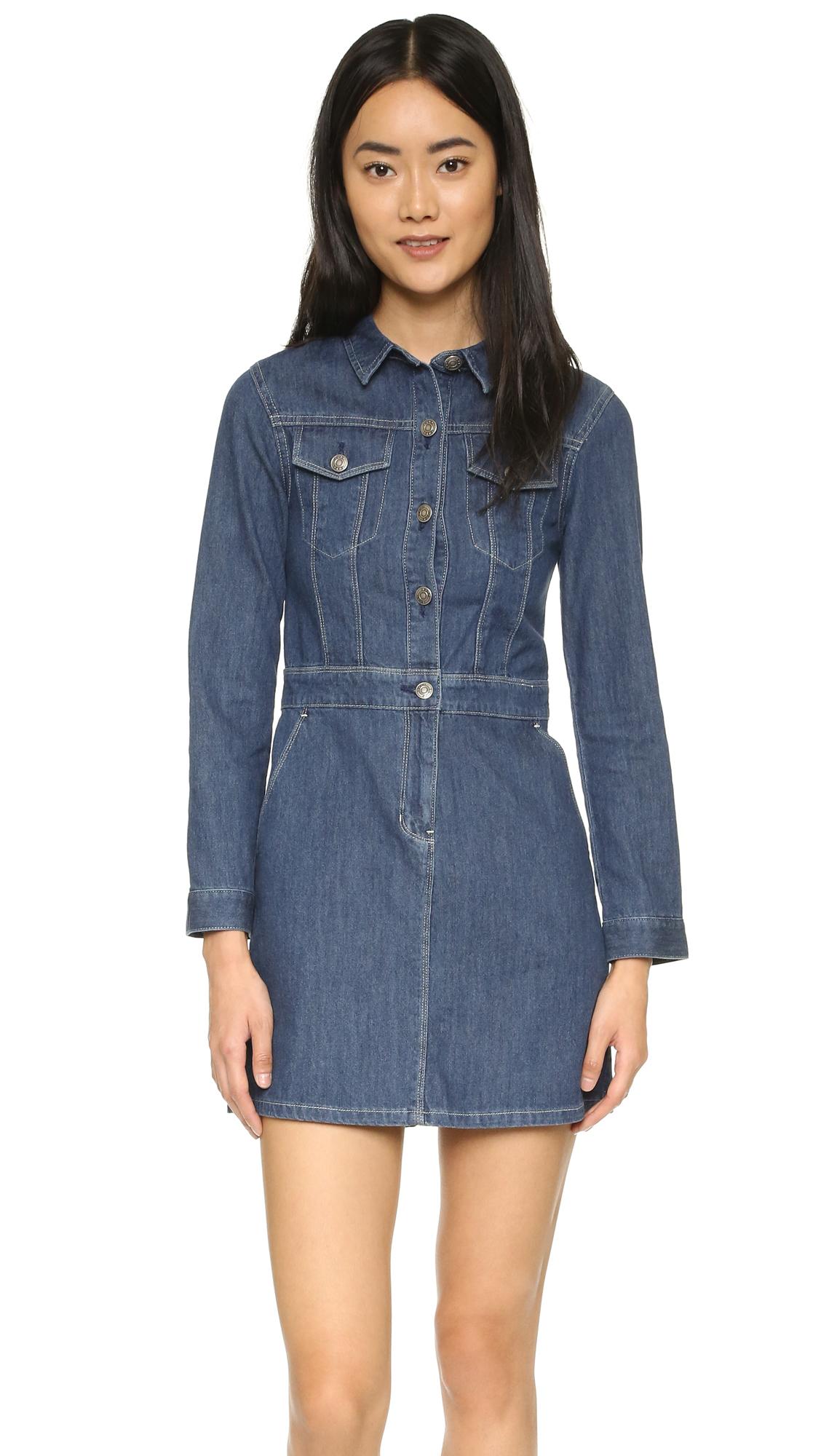 Sjyp Denim Trench Dress In Blue Lyst