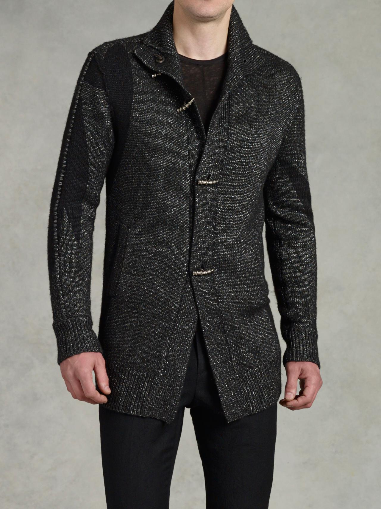 John varvatos Metal Toggle Sweater Coat in Black for Men | Lyst
