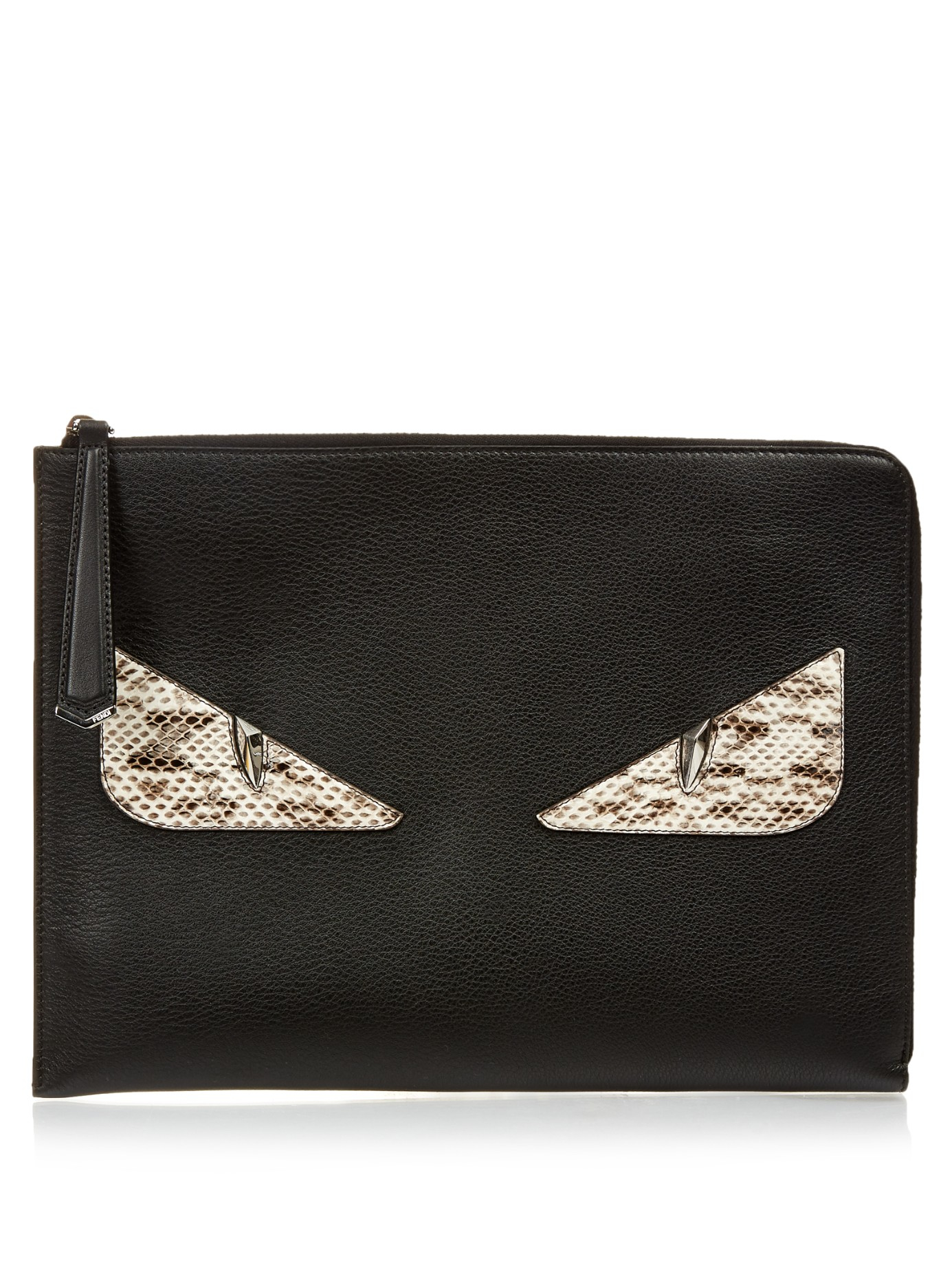 2d8635a6071f Lyst - Fendi Bag Bugs Leather And Snakeskin Pouch in Black