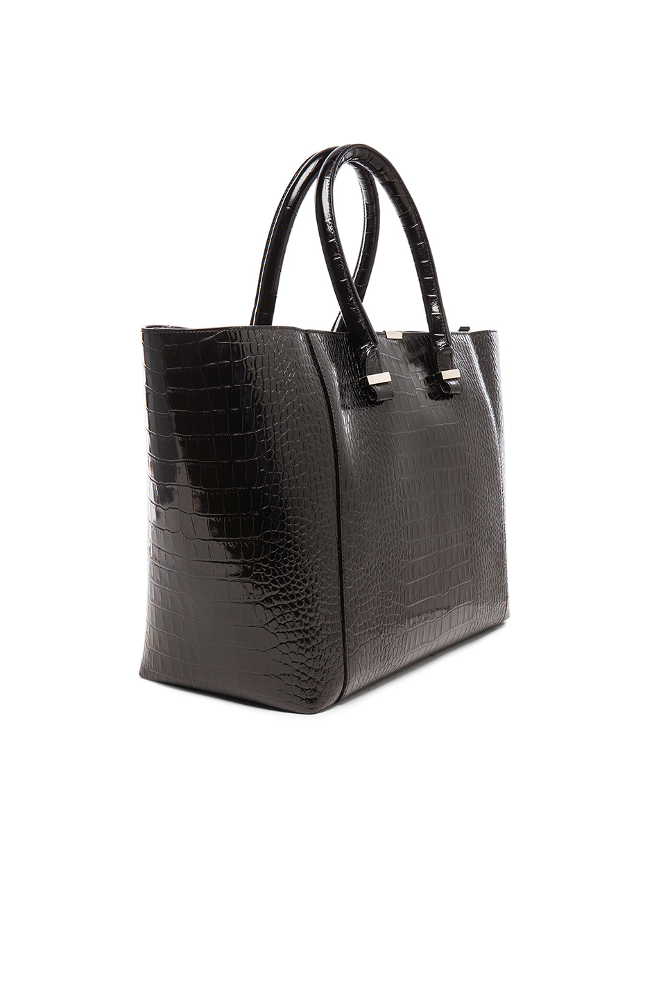 Victoria Beckham Liberty Printed Crocodile Tote in Black,Animal Print