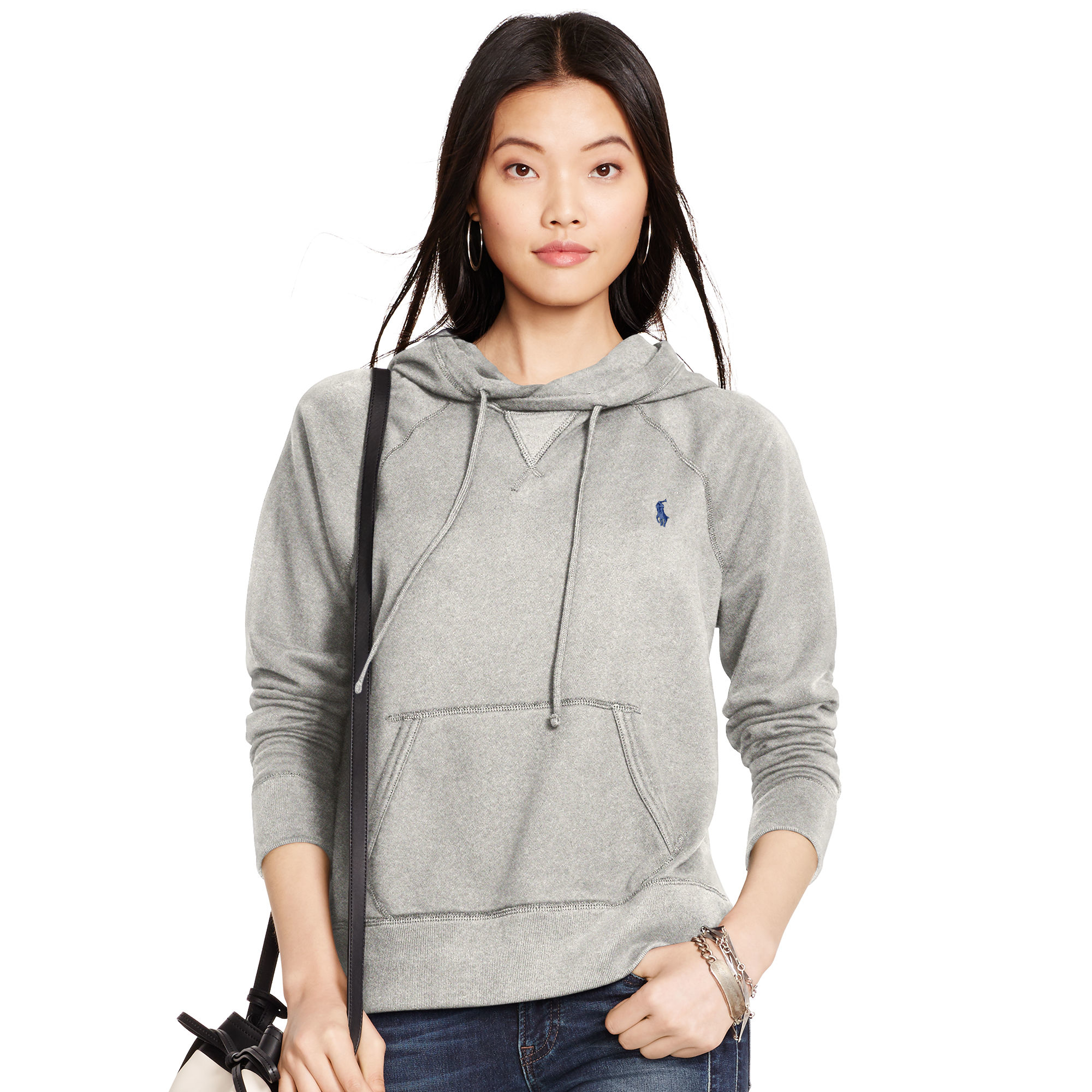 4d9d48820e64 ... new style polo ralph lauren cotton blend fleece hoodie in gray lyst  4222f 40576