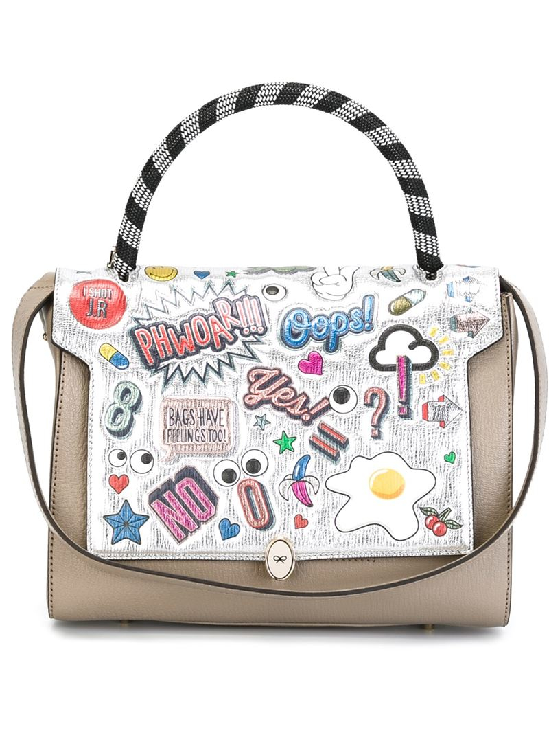 Anya hindmarch bathurst Printed Stickers Tote in Natural