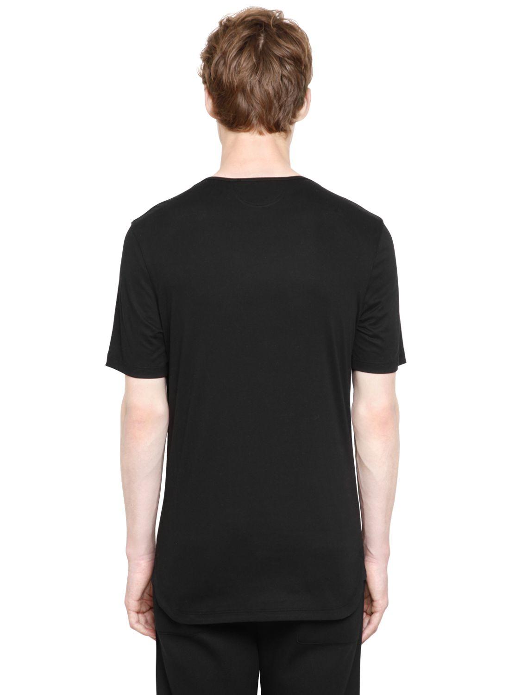 helmut lang brushed cotton jersey t shirt in black for men. Black Bedroom Furniture Sets. Home Design Ideas