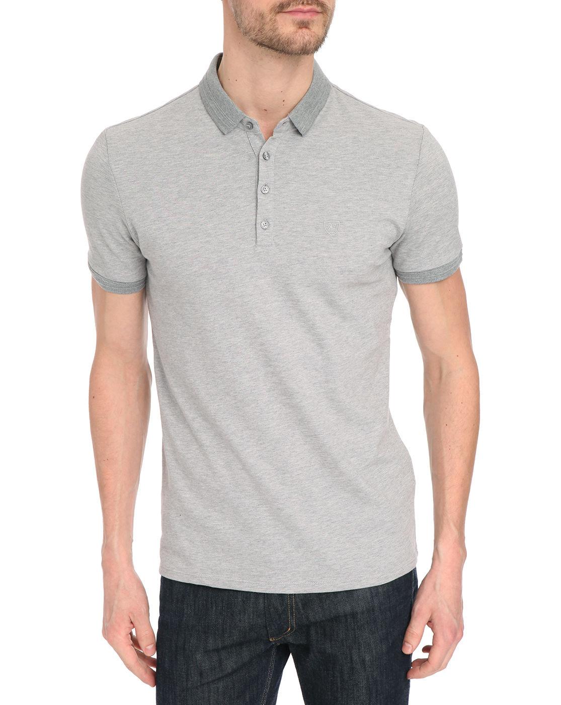 ikks mottled grey basic polo shirt in gray for men grey lyst. Black Bedroom Furniture Sets. Home Design Ideas