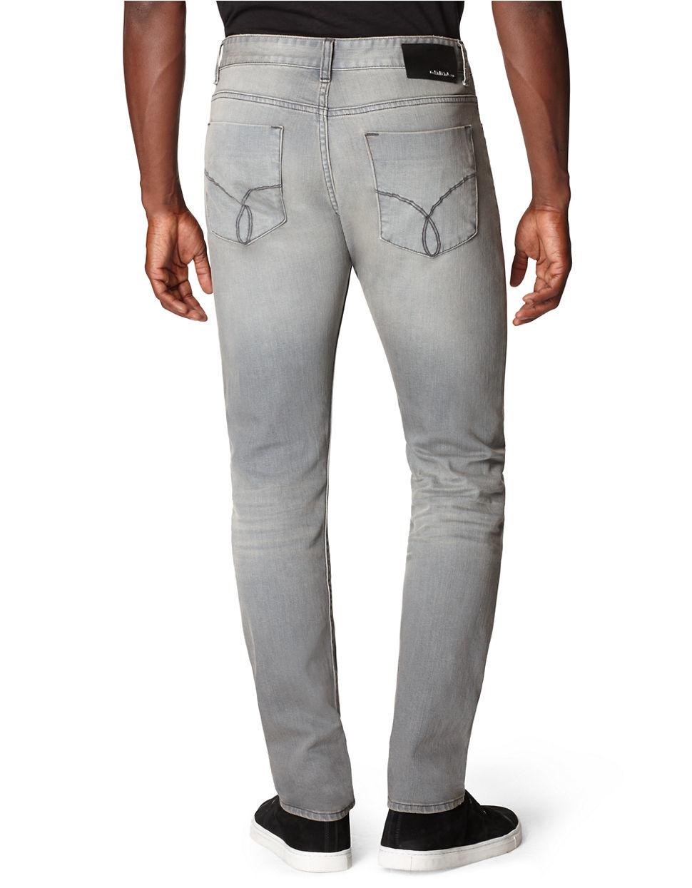calvin klein jeans slim straight leg jeans in gray for men. Black Bedroom Furniture Sets. Home Design Ideas