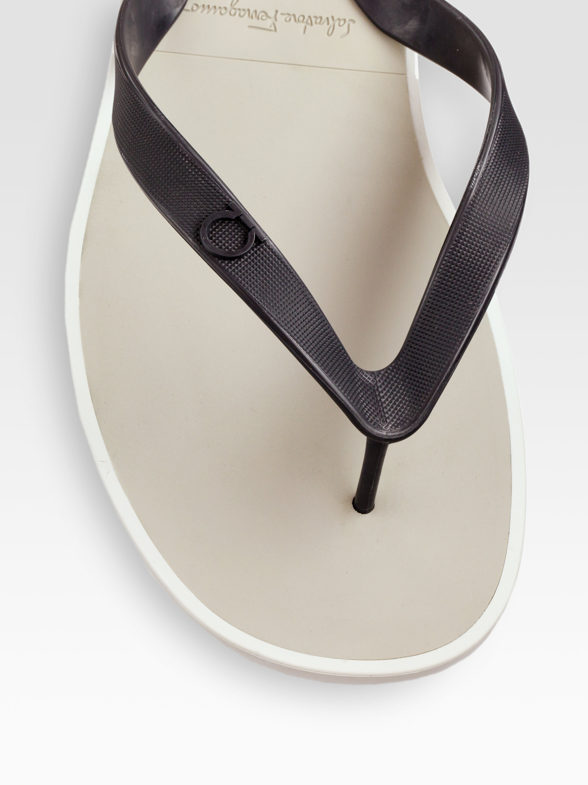 Lyst Ferragamo Rubber Thong Sandals In Red For Men