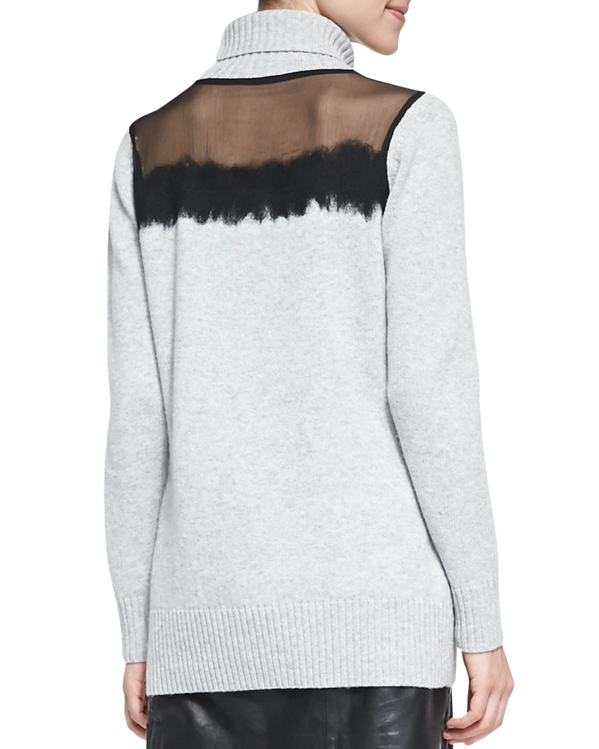 4d09dcae7e Lyst - Andrew Marc Sheer-Top Knit Turtleneck Sweater in Gray