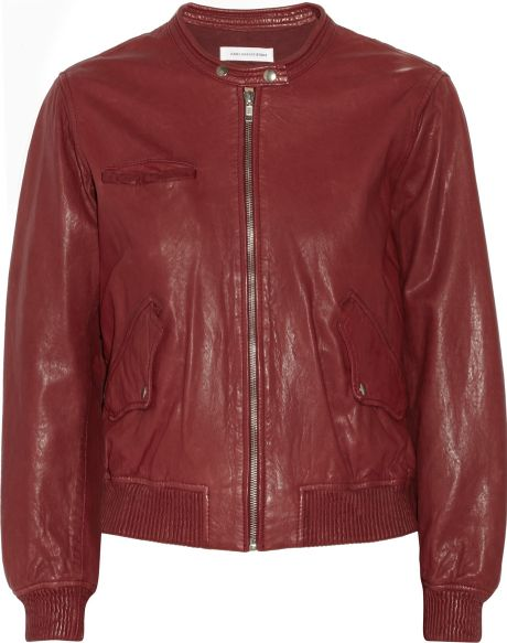 Etoile isabel marant calista leather bomber jacket in red for Bomber bag review