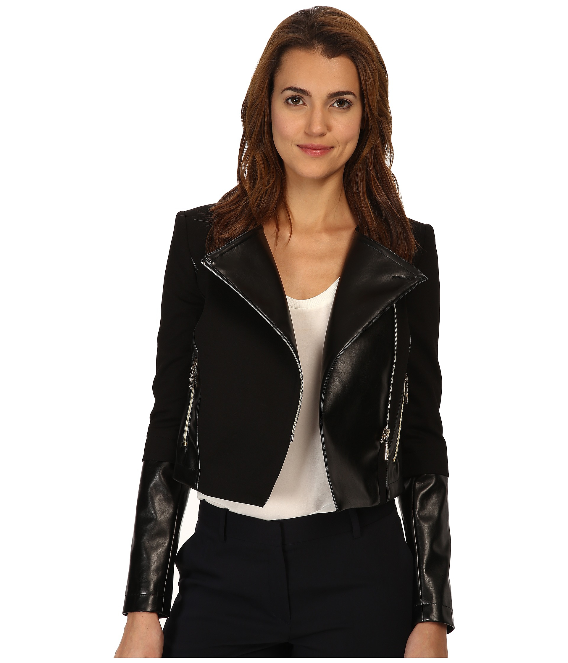 2e0ab1ce Lyst - Versace Jeans Leather And Fleece Jacket in Black