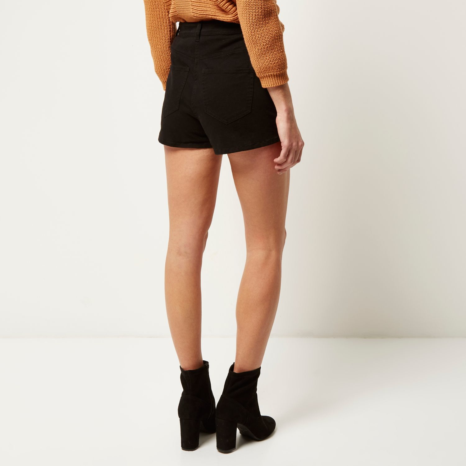 River island Lace-Up High-Waisted Shorts in Natural   Lyst