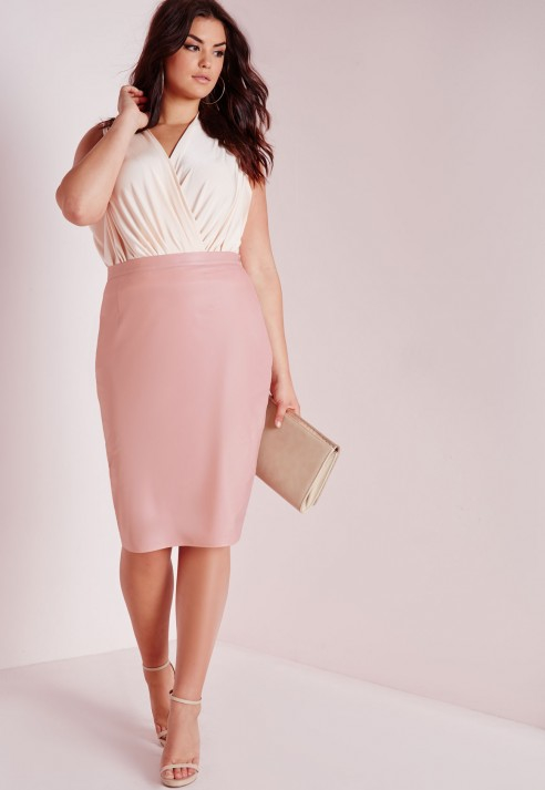 Missguided Plus Size Faux Leather Midi Skirt Blush in Pink | Lyst
