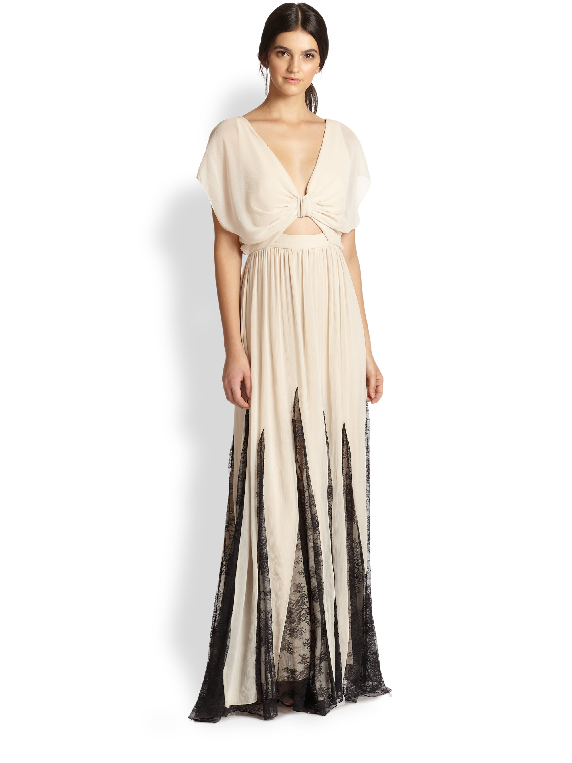 Alice   olivia Ginevia Bow Front Pleated Maxi Dress in Natural  Lyst