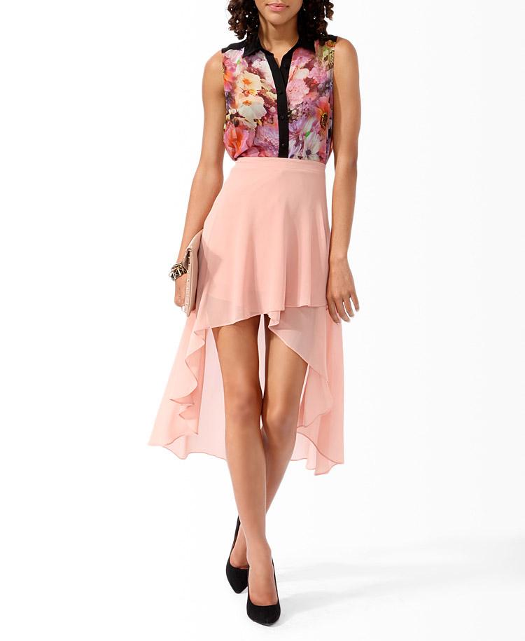 lyst forever 21 highlow hem skirt in pink