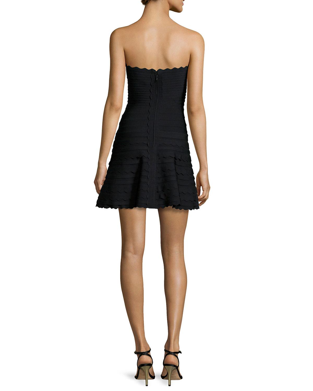 5cc5e553b972 Hervé Léger Scalloped Strapless Bandage Dress in Black - Lyst