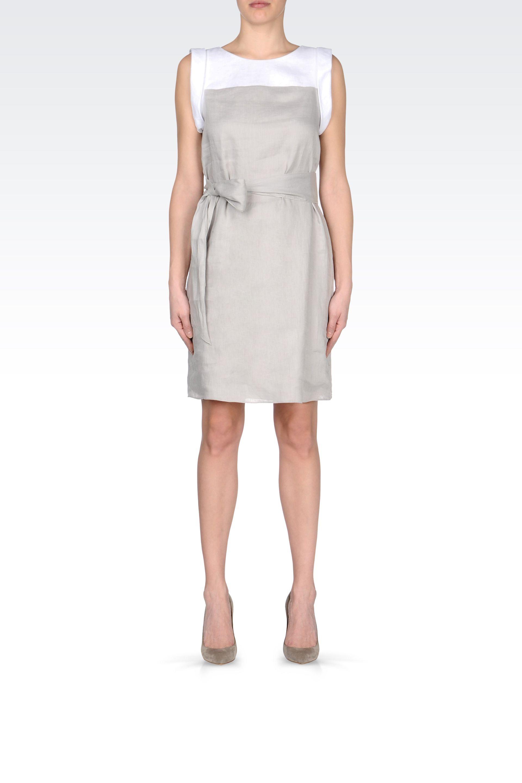 armani twocolor linen dress with belt in gray light grey