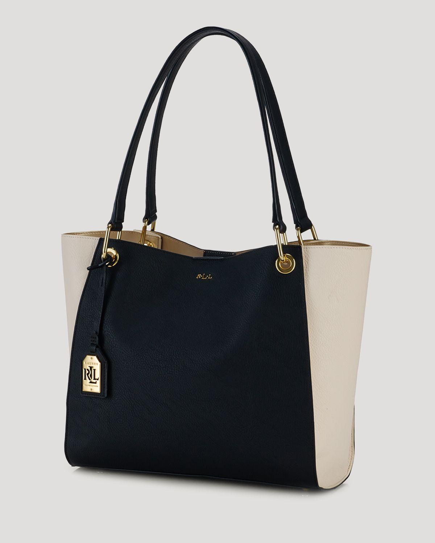 Lyst - Ralph Lauren Lauren Tote - Aiden Shopper Colorblocked in Black a7fd062d5e