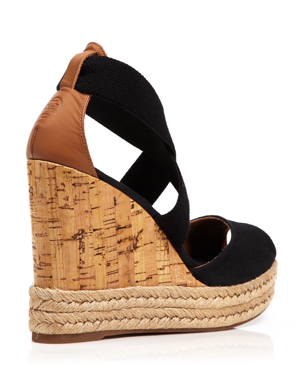 fe7ab5d326 Tory Burch Peep Toe Canvas Platform Sandals - Cork Wedge Heel in ...