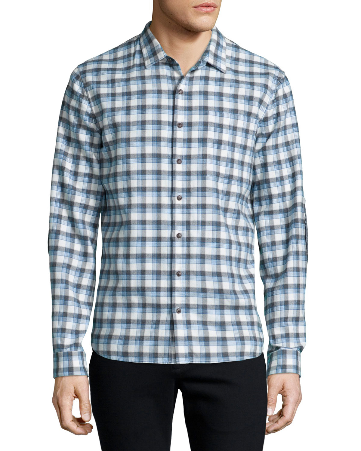 Atm plaid flannel long sleeve sport shirt in gray lyst for Grey plaid shirt womens
