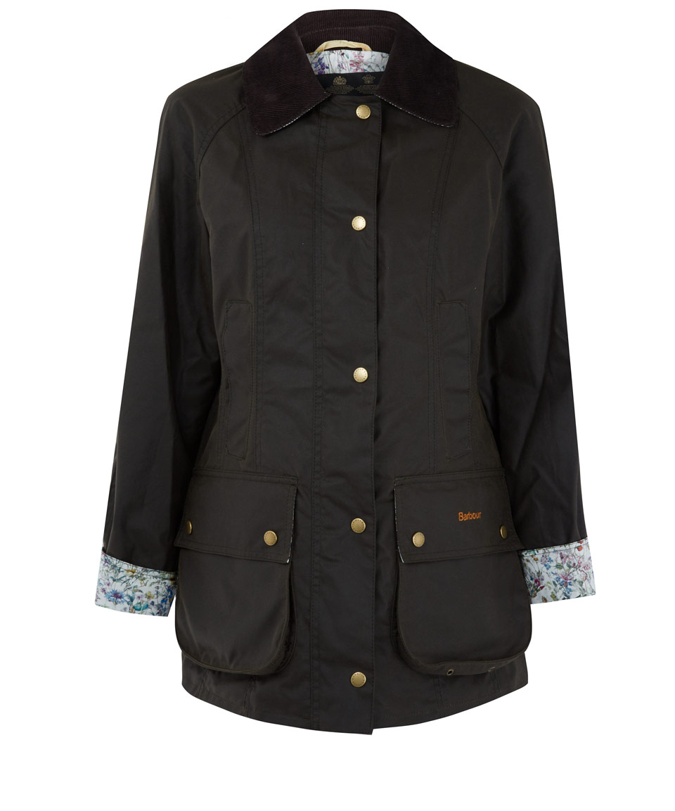Barbour Olive Beadnell Wild Flowers Liberty Print Jacket