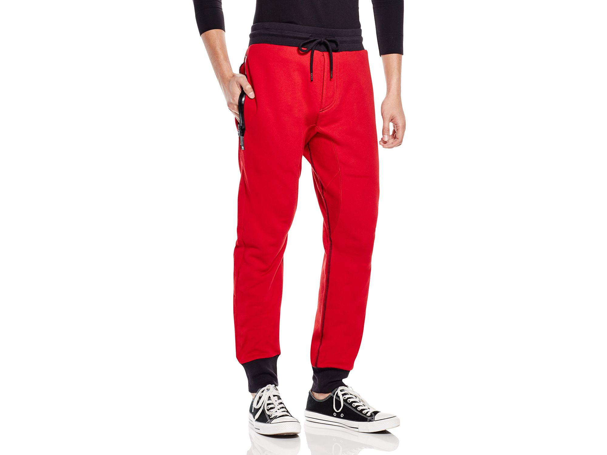 Lyst - True Religion Terry Exposed Zip Sweatpants in Red for Men 80727a710a32