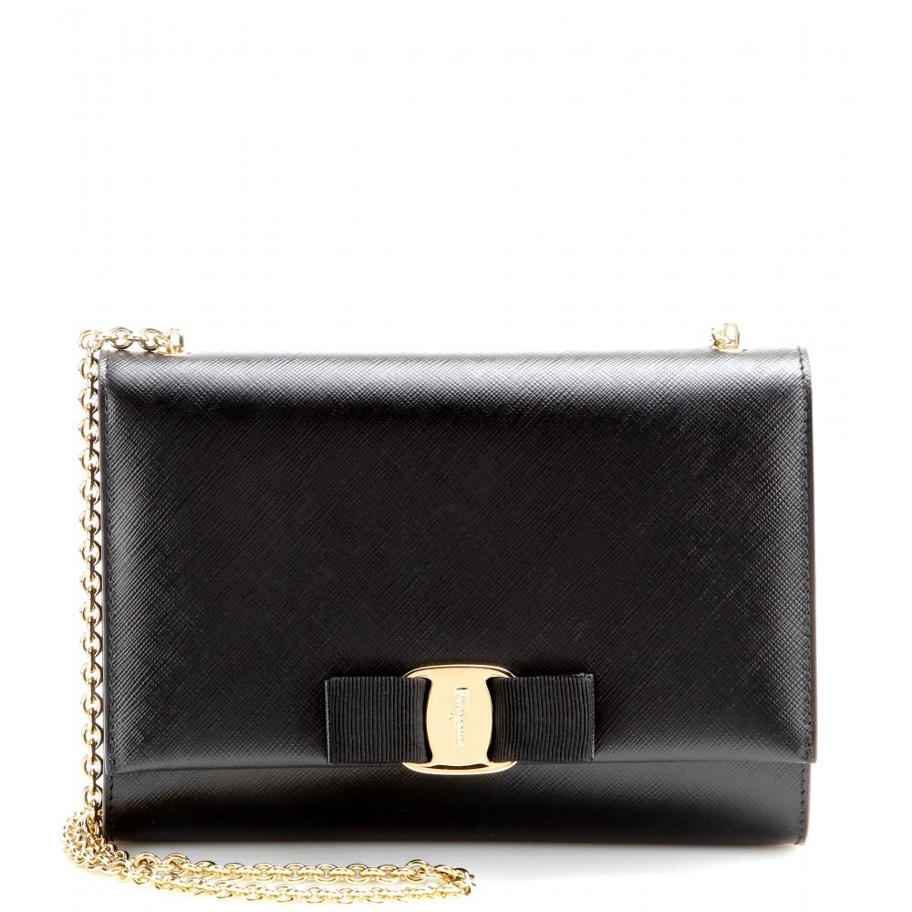 5b3edbe16568 Lyst - Ferragamo Ginny Small Leather Shoulder Bag in Black