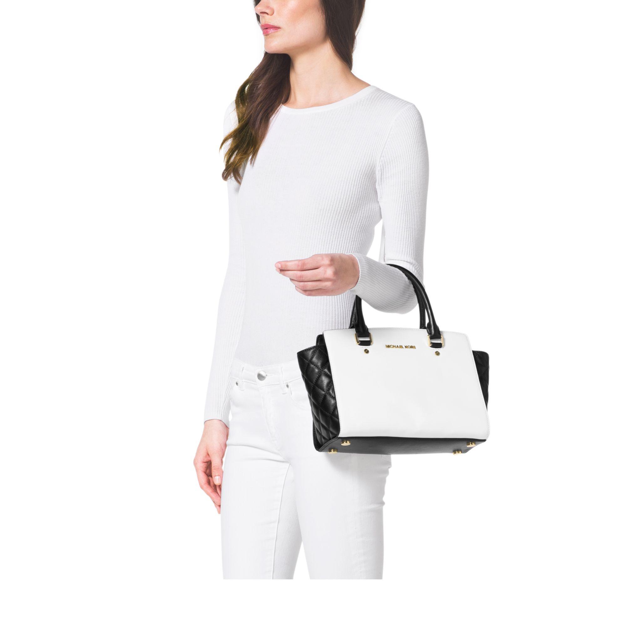 fbd88b9bdc03 Lyst - Michael Kors Selma Medium Color-block Leather Satchel in White