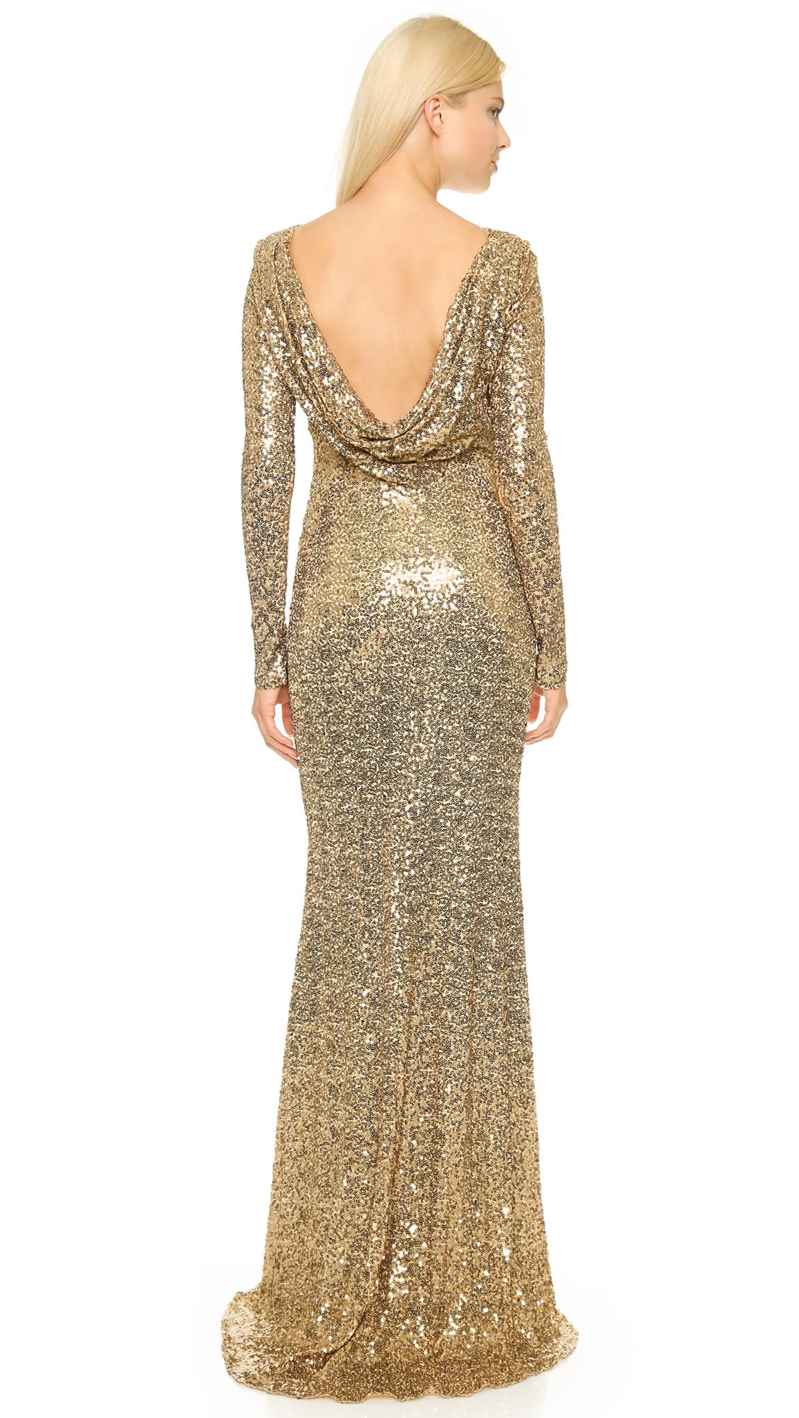 Badgley Mischka Long Sleeve Sequin Gown Gold In Metallic