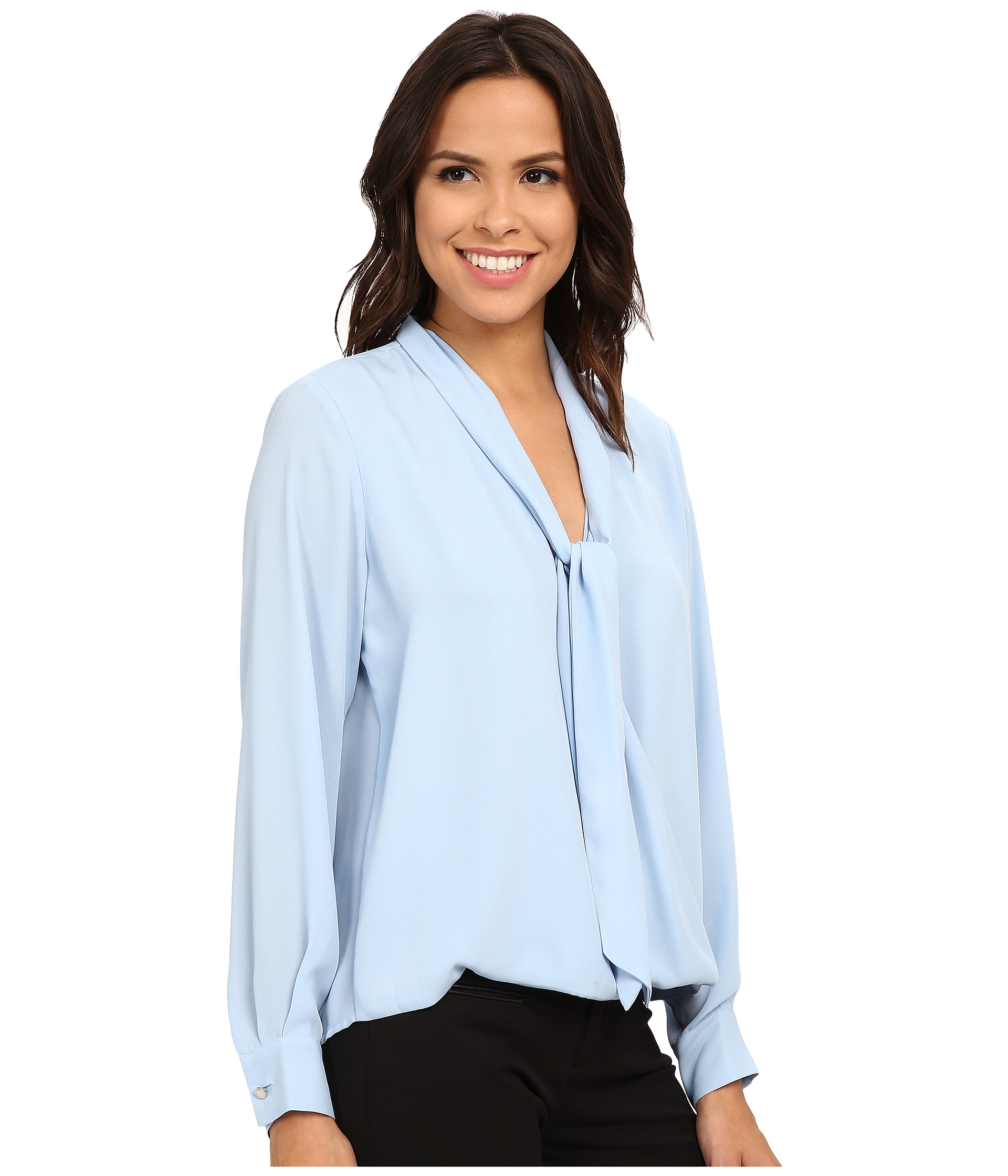 Vince camuto Long Sleeve Tie Neck Wrap Blouse in Blue | Lyst