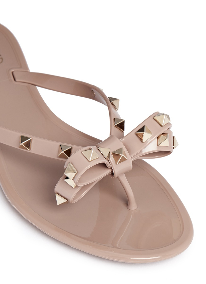 Lyst Valentino Rockstud Pvc Sandals In Brown