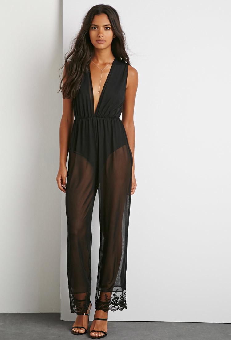 1ad638a48e49 Lyst - Forever 21 Crochet Mesh Jumpsuit in Black