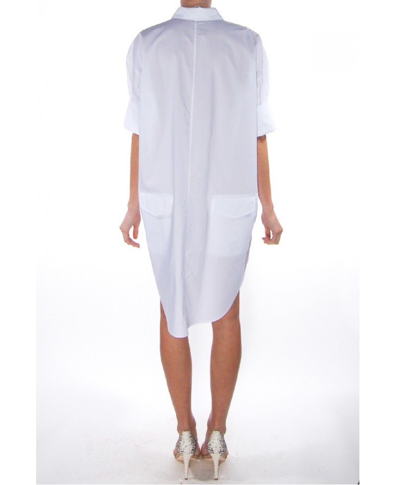 acne studios lash tech poplin shirt dress in white lyst