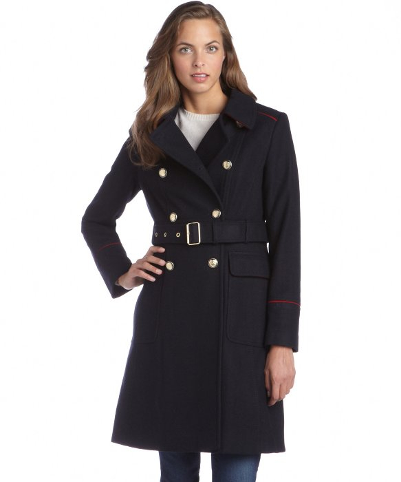 6c9b18323b94b Vince Camuto Navy And Red Wool Blend Double Breasted Belted Trench ...