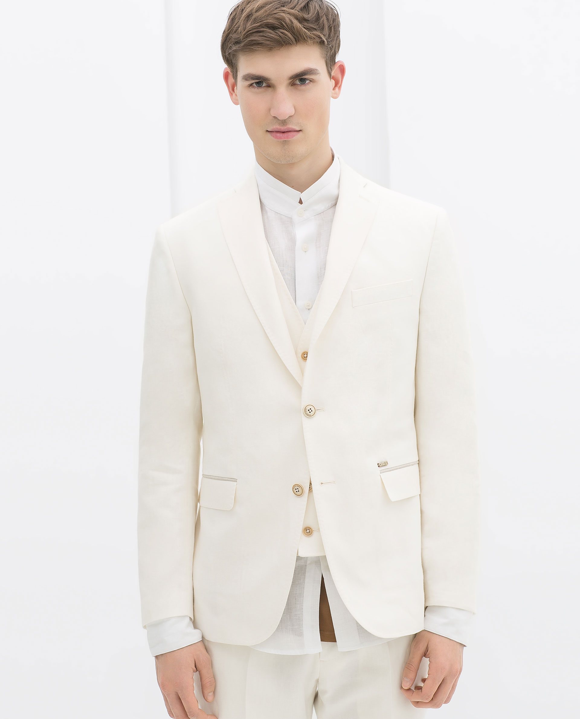 e1fe966f8c2 Zara Linen Suit Blazer With White Edging In Beige For Men .
