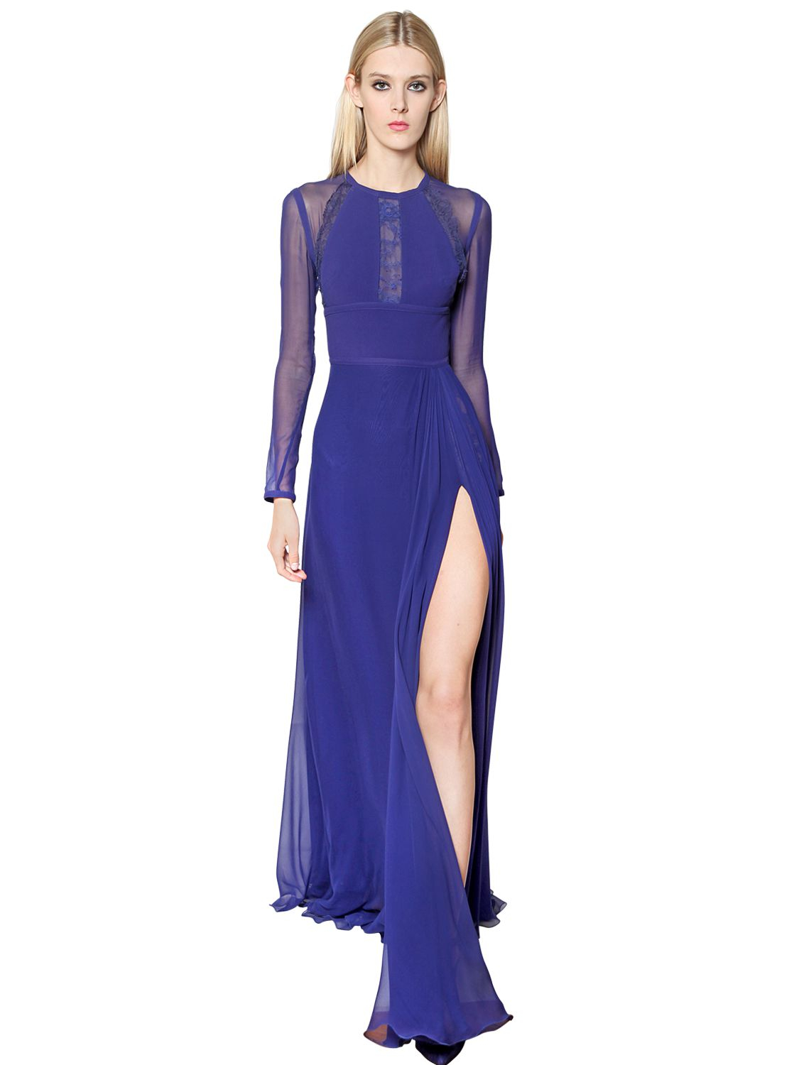 Elie saab Silk Crepe Cady Georgette & Lace Dress in Blue | Lyst