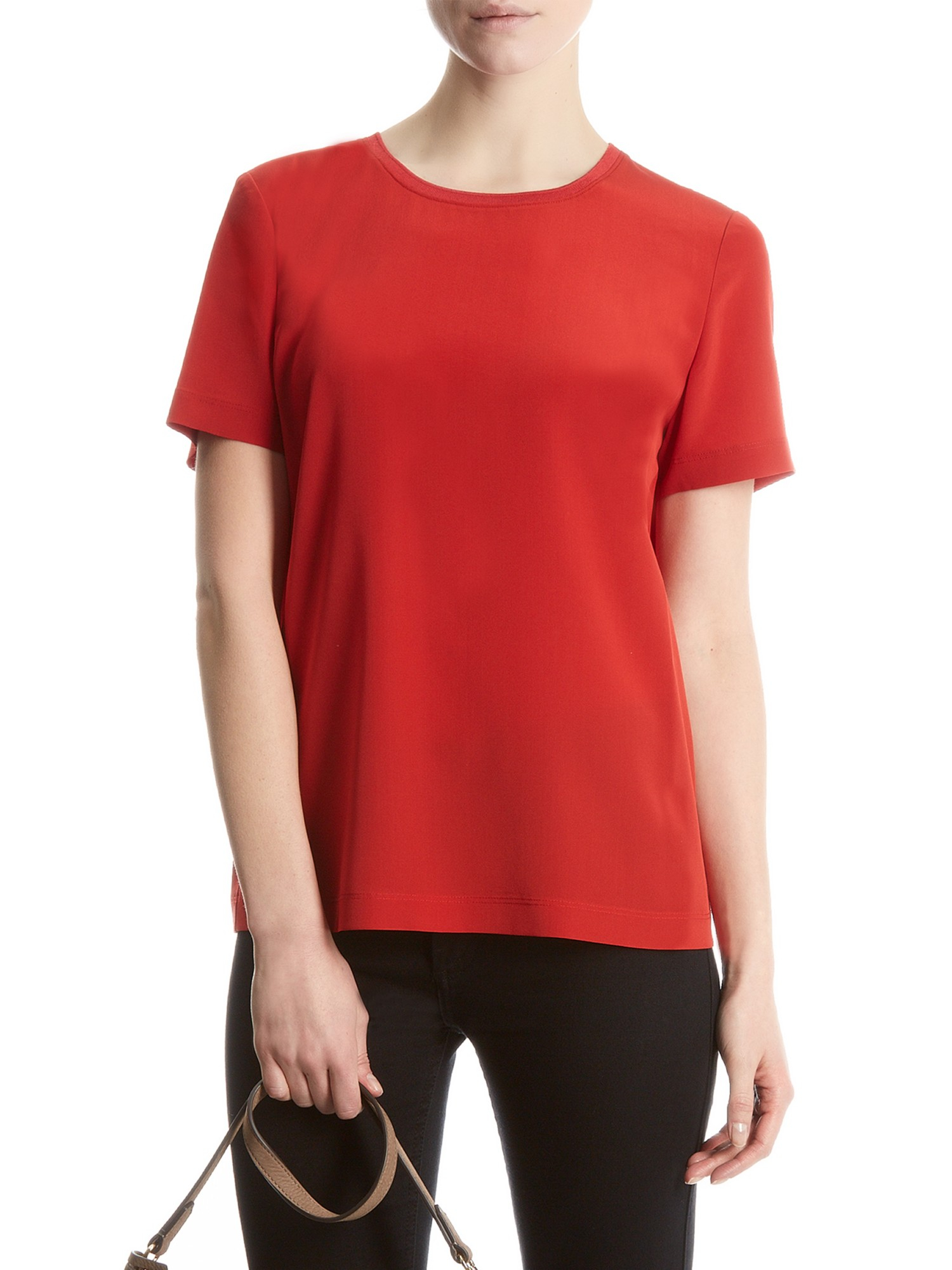 jaeger silk t shirt in red lyst