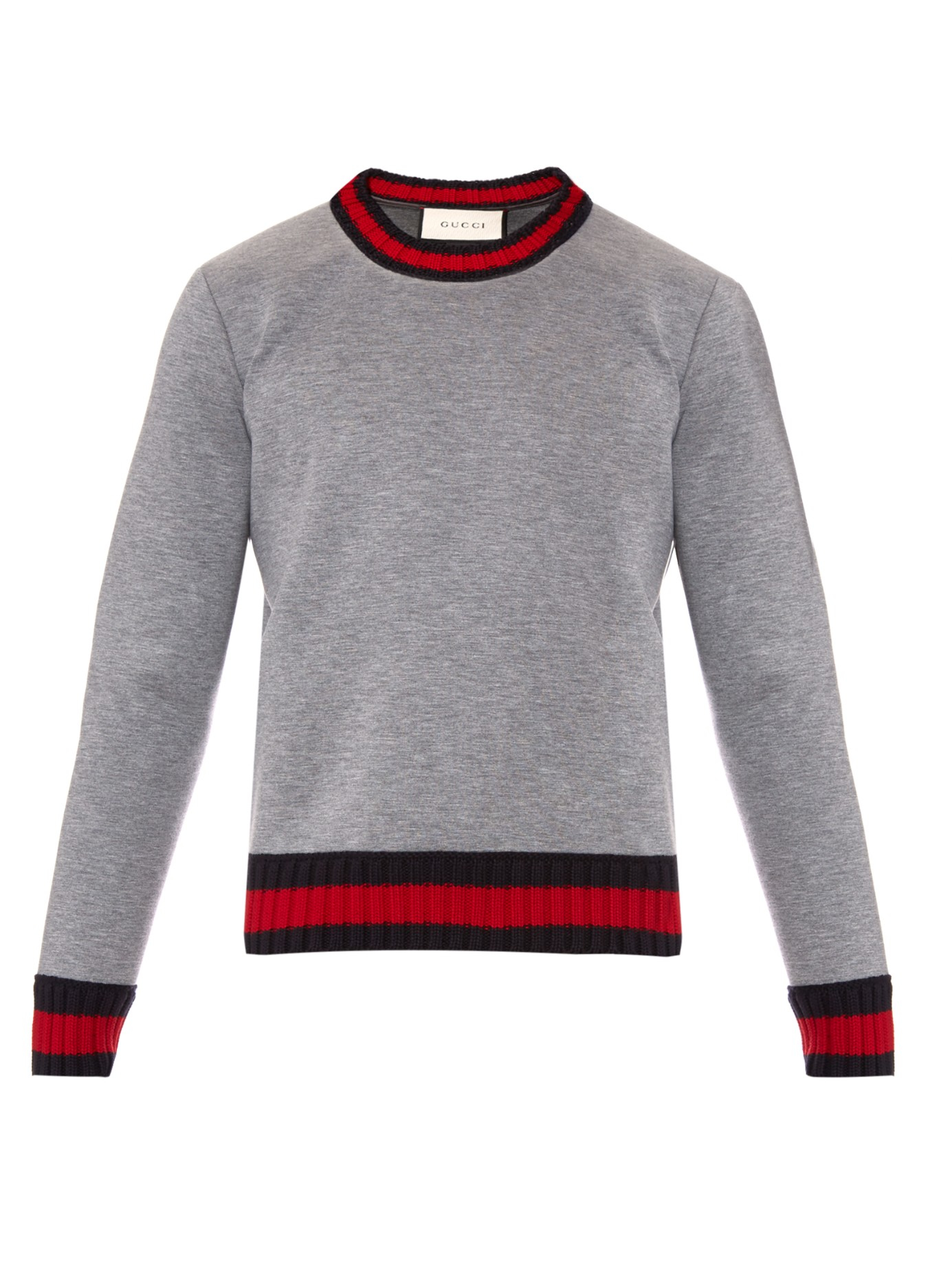 lyst gucci crew neck neoprene sweatshirt in gray for men. Black Bedroom Furniture Sets. Home Design Ideas