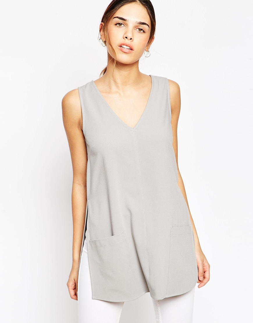 Asos Sleeveless Deep V Tunic Top in Gray
