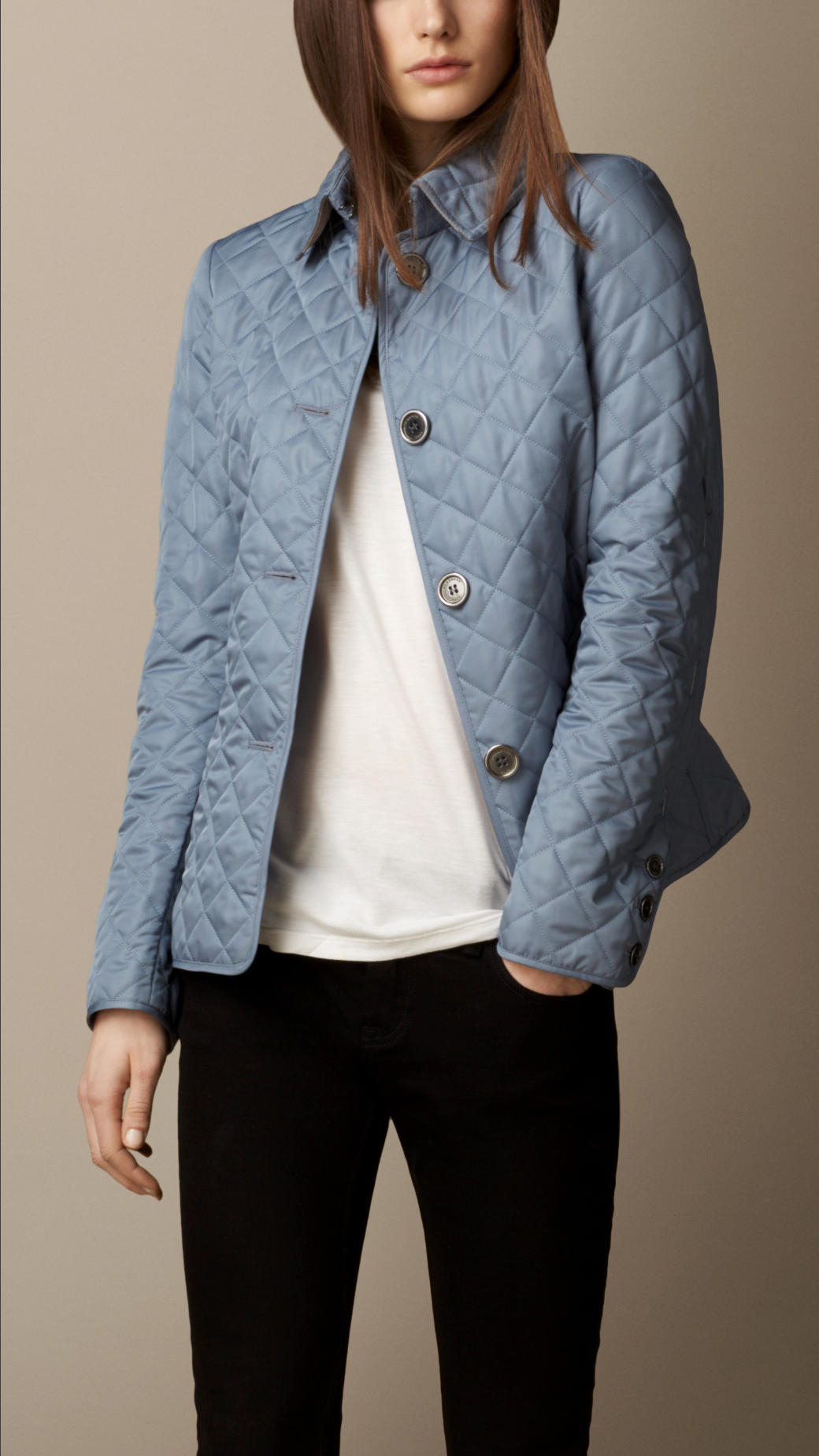 Lyst Burberry Diamond Quilted Jacket In Blue