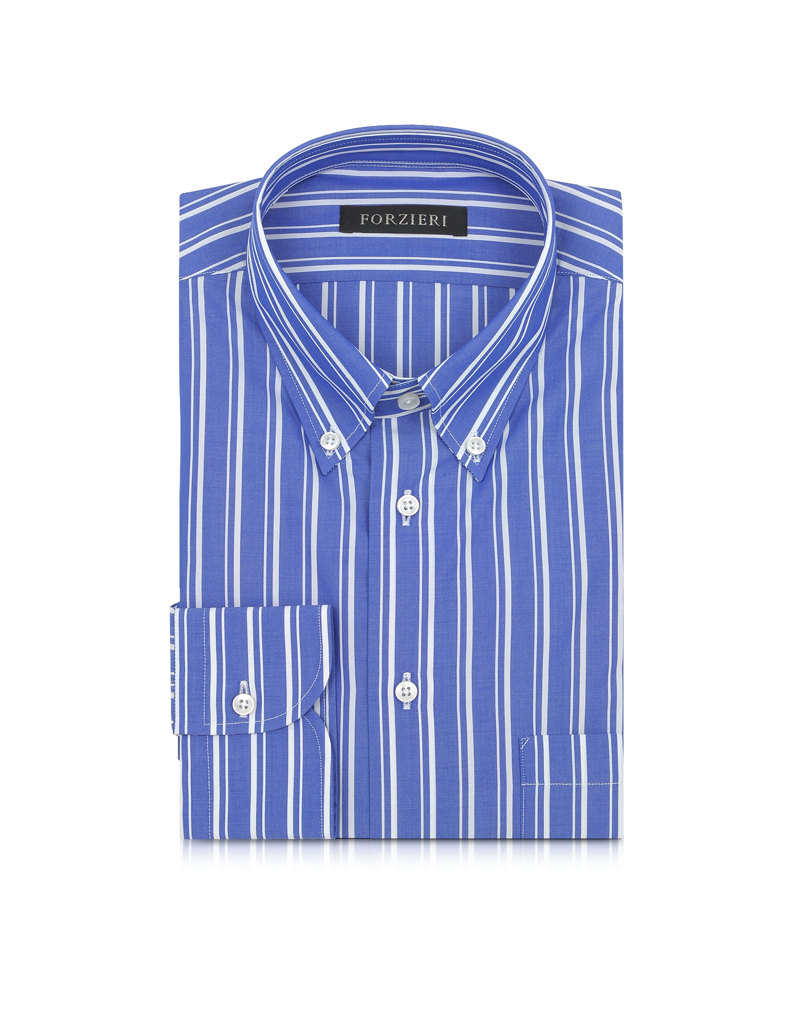 Lyst forzieri blue and white striped button down men 39 s for Blue and white shirt mens