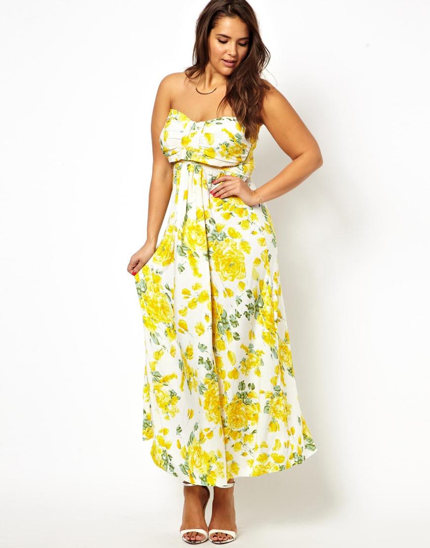 7ea0c2e4024 Lyst - AX Paris Curve Floral Slinky Maxi Dress in Yellow