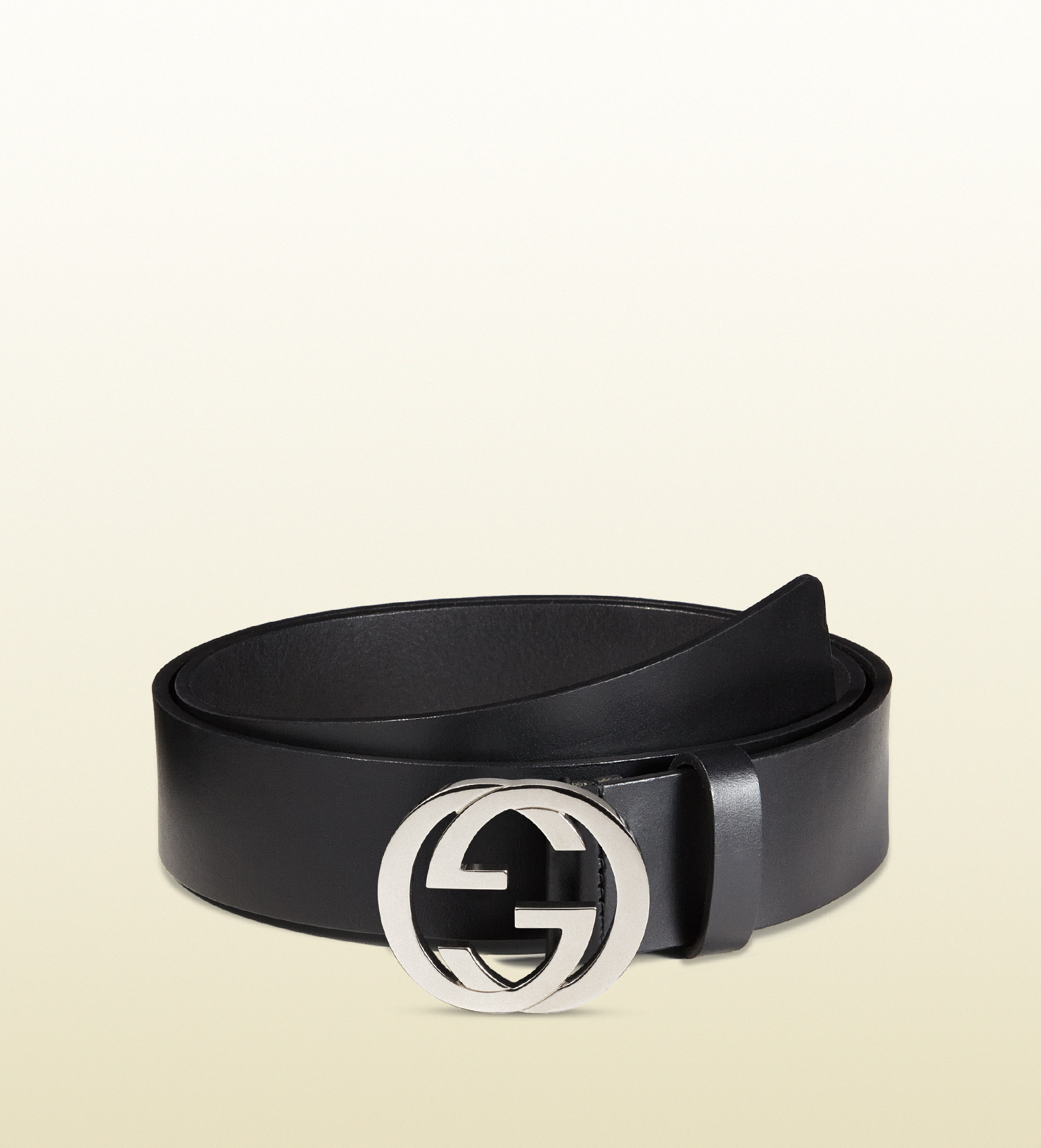 2272e5b41a0 Lyst - Gucci Leather Belt With Interlocking G Buckle in Black for Men