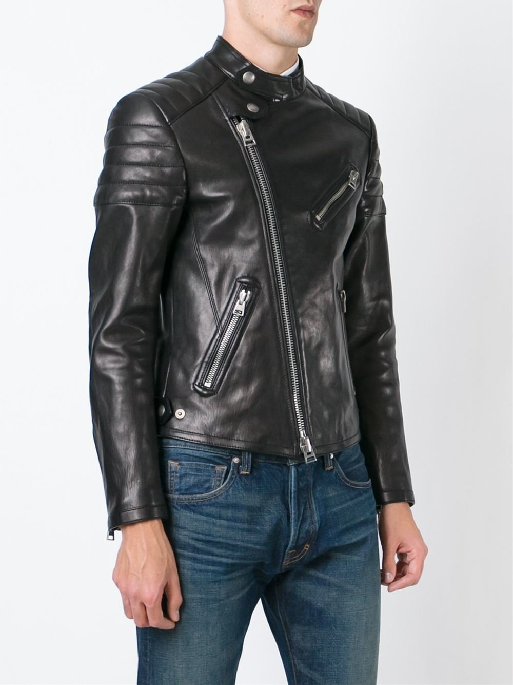 tom ford padded shoulder biker jacket in black for men lyst. Black Bedroom Furniture Sets. Home Design Ideas