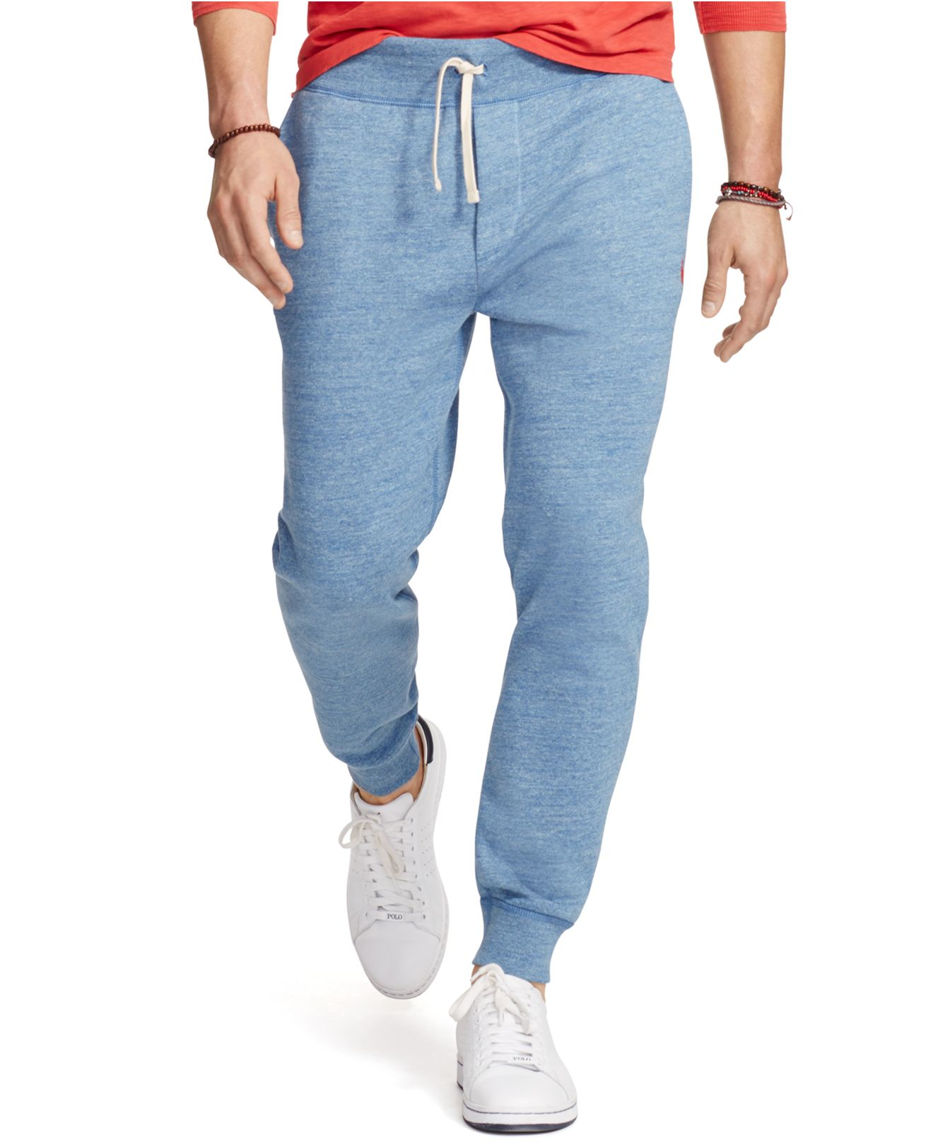 lyst  polo ralph lauren men's fleece jogger pants in blue