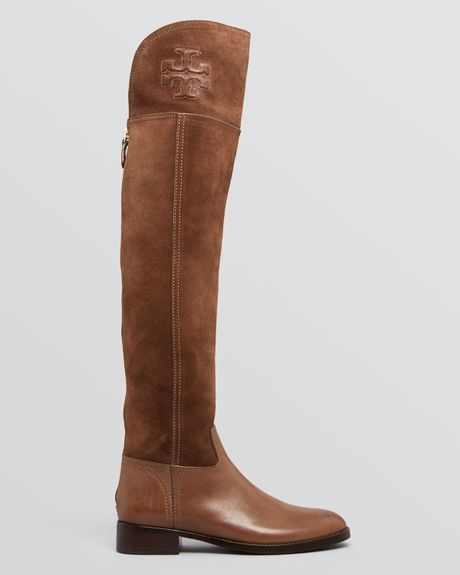 Tory Burch Over The Knee Boots Simone In Brown Weathered