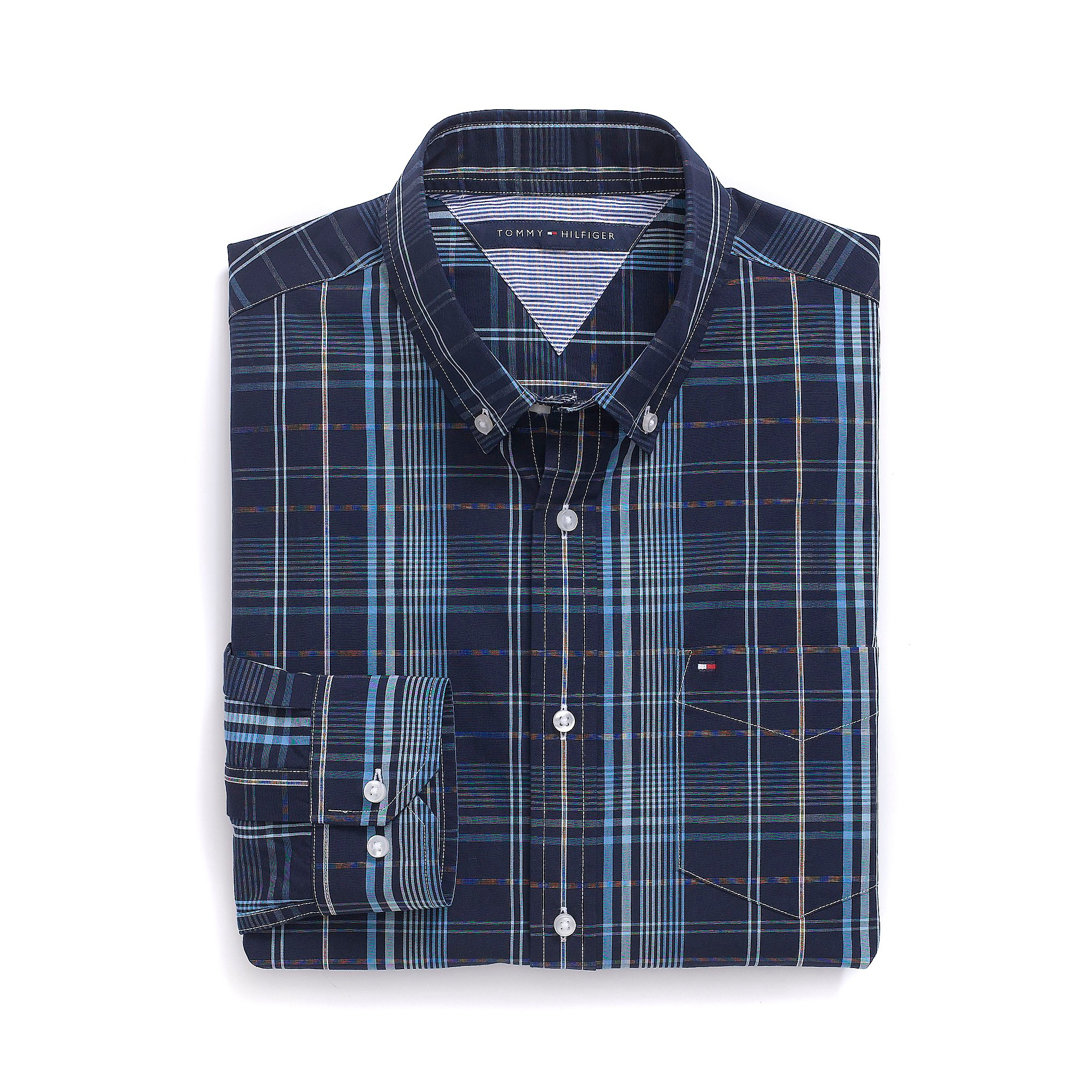 Tommy hilfiger custom fit plaid shirt in blue for men for Navy blue plaid shirt