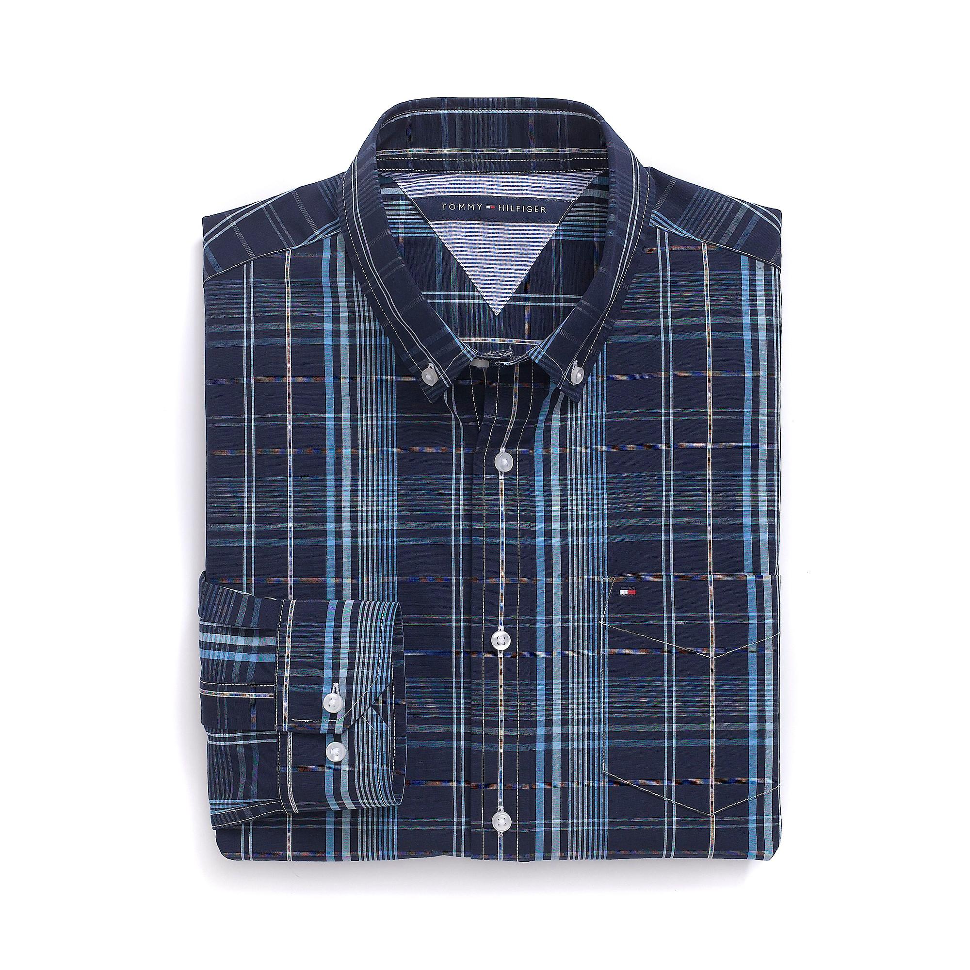 Tommy Hilfiger Custom Fit Plaid Shirt In Blue For Men