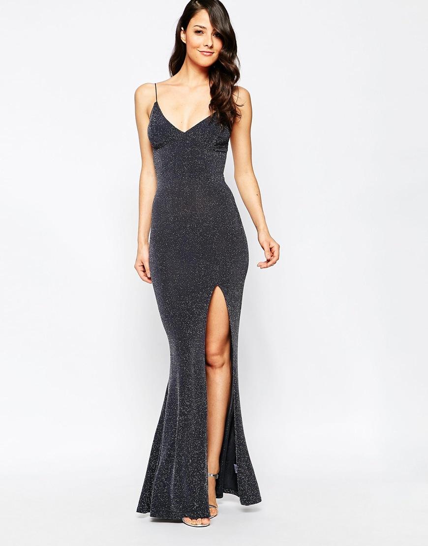 775c0c1ae0c Club L Tie Back Fishtail Maxi Dress In Glitter Fabric in Gray - Lyst