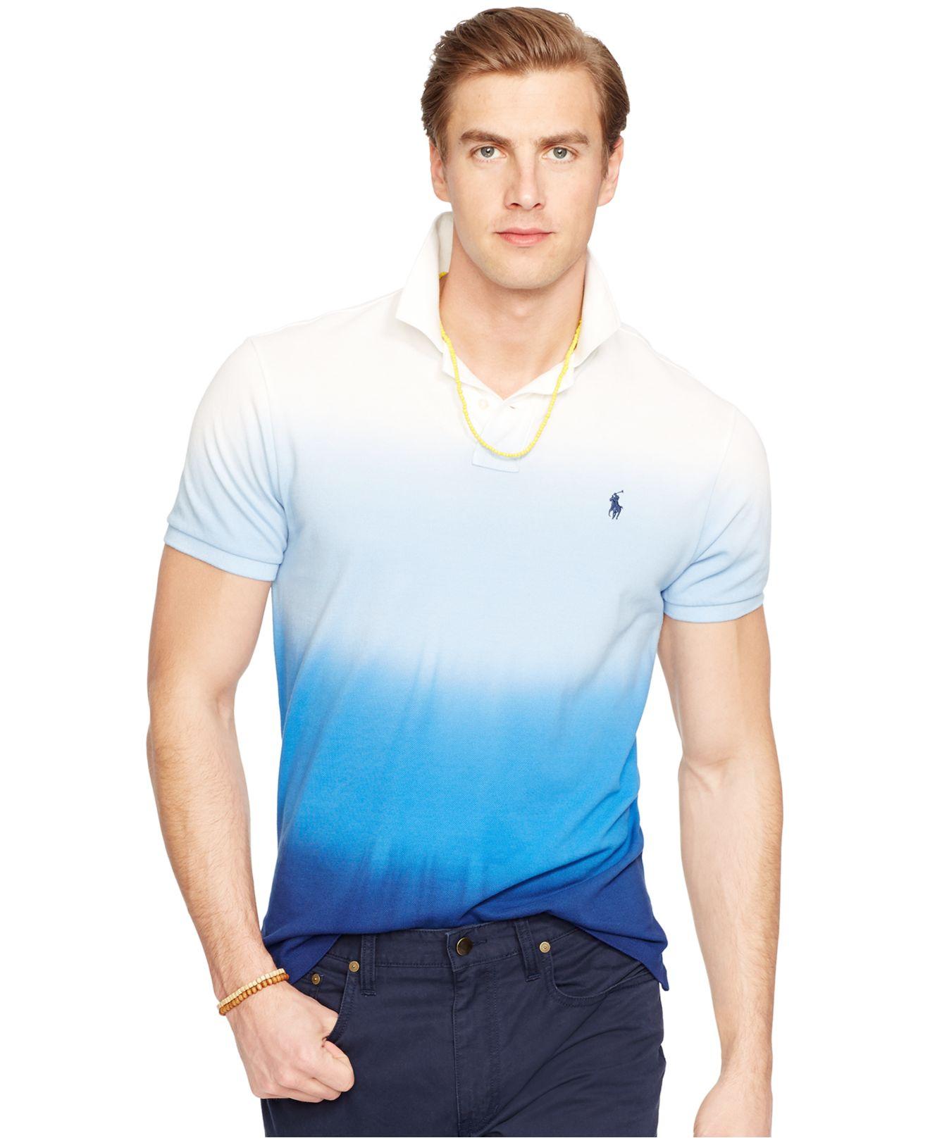 3177b649 Polo Ralph Lauren Custom-fit Dip-dyed Polo Shirt in Blue for Men - Lyst