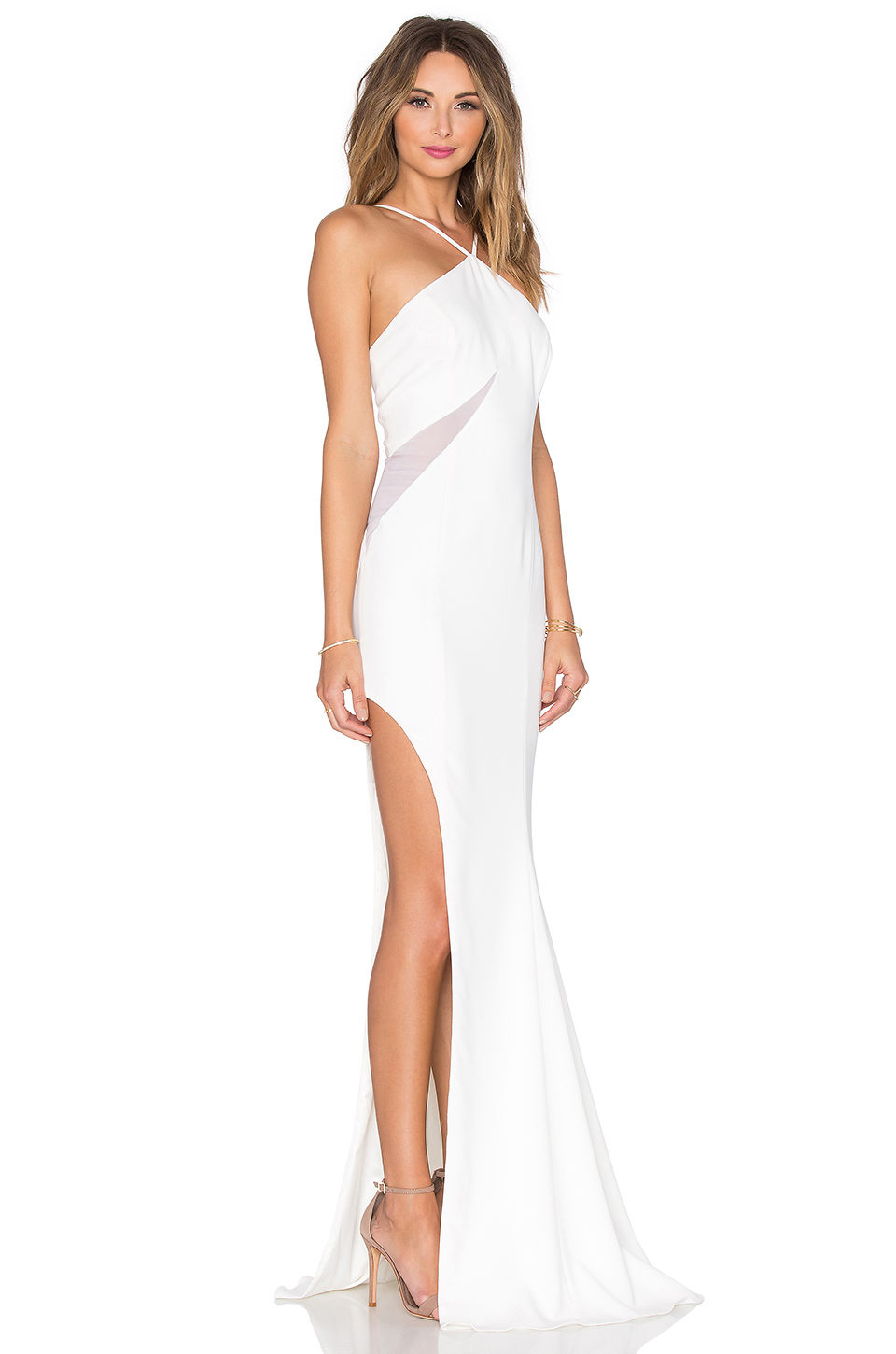 2be0fae931b Jay Godfrey Lifeson Mesh Inset Gown in White - Lyst